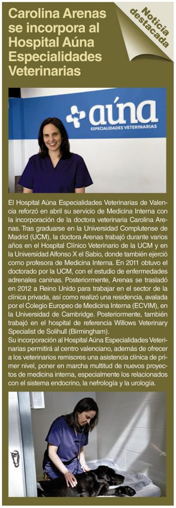 Medicina Interna Argos - Carolina Arenas se incorpora a Auna Especialidades Veterinarias